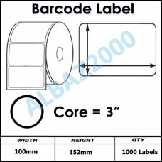 """Barcode Label 100mm x 152mm 3"""" Core"""
