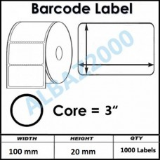 "100 mm x 20 mm Barcode Label 3"" Core"