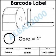 Barcode Label 26mm x 15mm  Core 1""