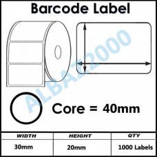 Barcode Label 30mm x 20mm Core 40mm