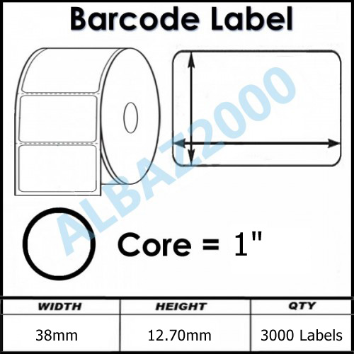 38mm X 12 7mm Roll Of 3000 Dtr Labels