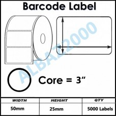 Barcode Label  50mm x 25mm Core 3""