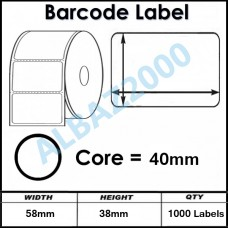 Barcode Label 58mm x 39mm core 40mm 1000 labels