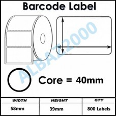 Barcode Label 58mm x 39mm core 40mm 800 labels