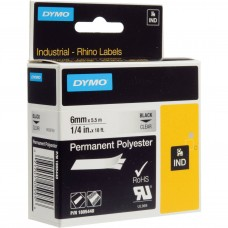 """Dymo Rhino Clear Permanent Poly Labels - 1/4"""" - 6mm - 1805440"""