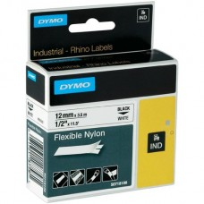 Dymo Rhino Tape 12mm Black on White Flexible Nylon - S0718100
